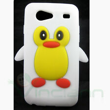 Custodia silicone Pinguino per Samsung Galaxy S Advance i9070 cover Bianca