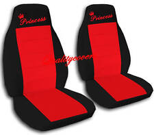 2 Front Black and Red Princess Seat Covers Universal Size