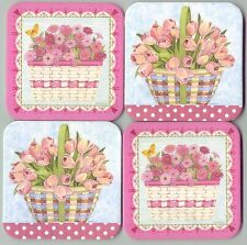 Longaberger 2 Horizon of Hope w Flowers 2 Easter Basket w Tulips Coasters