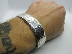 Very Heavy Men's Solid Silver Wide Torque Bangle 120g, Handmade UK