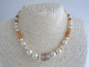 Pearl, Yellow & Copper Tone Bead Necklace - Murano Glass & Acrylic