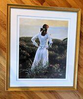 """VTG 31x36"""" John Philip Hagen Framed Offset Lithograph """"Wild Roses"""" Print Signed"""