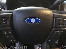 Transformers DECEPTICON Ford Steering Wheel Oval Emblem Decal Overlay Silver/Blu