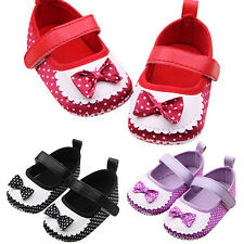 ND_ EG_ INFANT GIRLS BABY POLKA DOTS TRAINERS SHOES SOFT SOLE BOWKNOT PREWALKE
