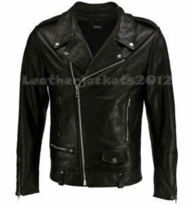 M-7XL Men Black PU Leather Biker Jacket Asymmetry Zip Motorcycle Coat Outwear