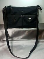 Chaps Black Purse Adjustable Crossbody Strap Front Pockets Nylon & Faux Leather