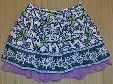 Gap Kids Purple Navy White Floral Skirt 14 Adj Waist Tulle Trim EUC Lined