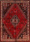 Vintage Abadeh Geometric Tribal Area Rug 4x5 Hand-Knotted Wool Oriental Carpet