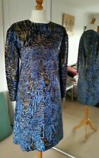 Drag Queen/Hen Party short Dress, Blue stretch flame pattern, full sleeve.