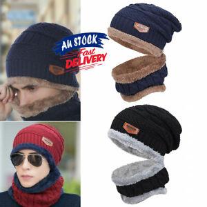 Winter Knitted Hat Chunky Beanie Fleece Men Outdoor Neck Warm Women Fur Ski Cap