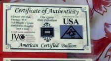 USA ;COA  1 grain de Palladuim sous blister format CB