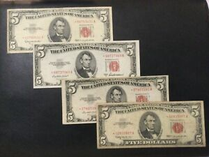 1953-1963 UNITED STATES NOTES 5 DOLLARS LOT OF 4 STAR BANKNOTES!