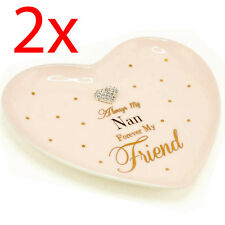 2 X MAD DOTS NAN HEART SHAPE CERAMIC DISH DECOR DISPLAY HOME GIFT PRESENT NEW