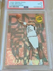 1996 Press Pass Kobe Bryant PANDEMONIUM RC #3 PSA 9 POP 15 only 9 higher!