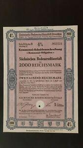 4 % Kommunal-SV Sächsische Bodenkreditanstalt 2000 RM Sept. 1943 Dresden