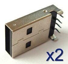 2x Connecteur à souder USB Male Type A 4 pins / 4 broches 90° solder connector