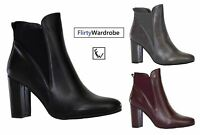 Ankle Pointy Toe Boots High Block Heel Elasticated Heeled Shoes Boot