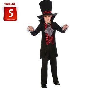 Costume Lord Vampiro Bambino 3-4 Anni con Giacca e Cappello Halloween Carnevale