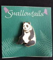 Panda Bear Cloisonne Brooch by SwalowTails Handcrafted