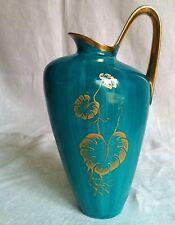 Edle Vase Türkis Goldstaffage Art Déco hand painted décoration d'or vaso in oro