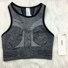 DKNY XS Sports Bra Reversible Black Heather Gray NWT $39 Racerback Compression