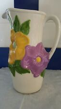 CERAMIC BEVERAGE PITCHER WHITE WITH COLORFUL FLOWERS