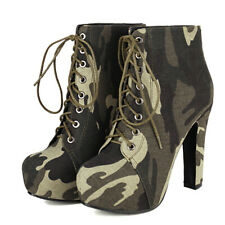 Womens Platform Combat Boots Lace Up Camouflage Chunky Heel Military Ankle Boots