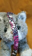 Fabric Cat Collar - Magenta, Gray & White Floral On Navy Blue