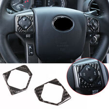 2*Real Carbon Fiber Inner Steering Wheel Button Trim For Toyota Tacoma 2015-2020