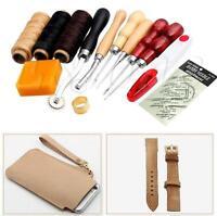 13Pcs Leather Craft Hand Stitching Sewing Tool Thread Awl Waxed Thimble Kit GA