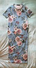 Boohoo Light Blue Floral Midi Dress Stretch Bodycon Size 10 NWOT