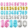 40cm Number Foil Balloon Birthday Banner Sweet 16 Balloons Gold Blue Pink Silver
