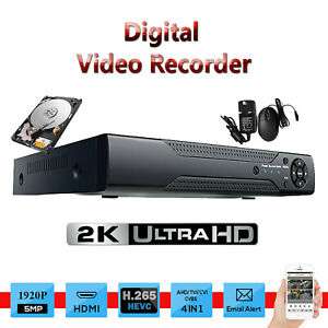 4 Channel 5MP CCTV DVR 1920P 4IN1 HDMI BNC Video Security system Remote view UK