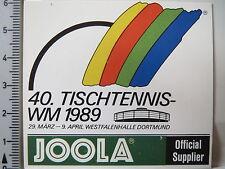 Aufkleber Sticker JOOLA Tischtennis WM 1989 - Westfalenhalle Dortmund (2930)