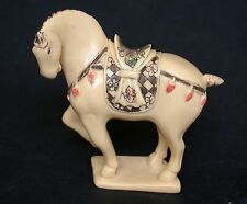 Japanese ivory colored bone netsuke/okimono-Tang Dynasty  HORSE Lift 1 Leg,sign