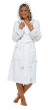 Womens Pure 100 Cotton Robe Luxury Toweling Hooded Bath Robes Dressing Gown White M