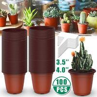 100 Plastic Plant Nursery Pots Seedling Flower Plant Container + 10 Plant Labels