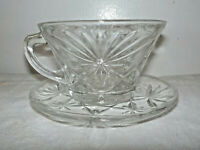 Vintage Pressed Clear Glass Starburst Pattern Cup and Saucer Set