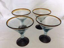 AZTECAS DESIGN MARTINI HANDBLOWN MARTINI GLASSES (4) MADE IN MEXICO