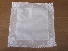 """Vintage Wedding Bride White Lace Floral 10"""" Pretty Hanky Handkerchief"""