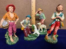 Antique ~ Italy ~ Nativity 4 Figure Lot ~ Fisherman ~ Shepherd ~ Rabbits ~ Rare