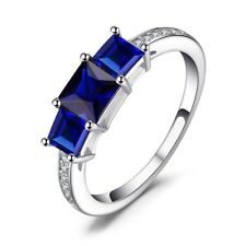 1.2Ct Princess Cut Blue Sapphire Engagement Ring Solitaire 14k Solid White Gold