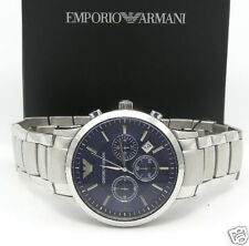EMPORIO ARMANI AR2448 Classic Round Dark BLUE Chrono SS Bracelet Mens Watch NEW