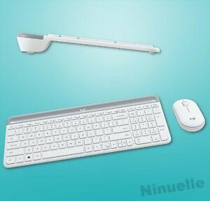 Logitech kabellose Tastatur-Maus-Set MMK470 Slim Combo Weiß