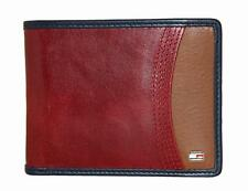NEW TOMMY HILFIGER RED LEATHER PASSCASE CREDIT CARD ID CASE BILLFOLD MEN WALLET