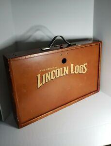 Vintage The Original Lincoln Logs Building Set Wooden Case Box, 127 Pieces Retro
