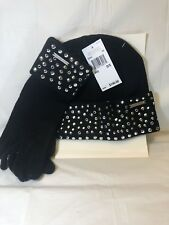 MICHAEL KORS HAT AND GLOVE SET STUDDED BLK SIZE 0/S