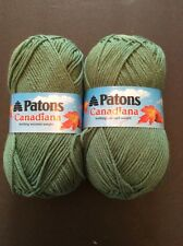 Patons Canadiana Yarn 2 Skeins Juniper Green Soft Worsted Acrylic 228 Yards 100g