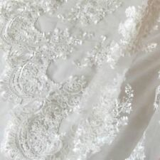 "Lace Tulle Embroidery Floral Fabric Wedding Bridal Dress 51"" Width By Metre"