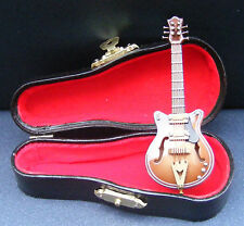 1:12th Brown Electric Guitar + Black Case Dolls House Miniature Instrument 552 G